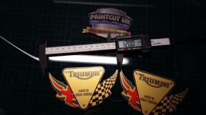 Triumph flag Decal x2 sticker decal graphics restoration replacement GOLD